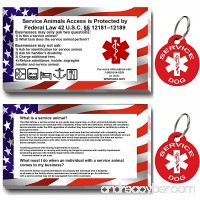 Service Dog ID Tag Kit 50 Double Sided ADA Information Cards and 2 Premium Aluminum Double Sided Dog Tags - B078HB55N8