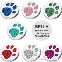 Vcalabashor Pet ID Tags for Small & Medium Large Dogs & Cats/Round Tags with Sparkly Paw Print/Bling Engraved Personalized Animal Tag - B0725VKL45 id=ASIN