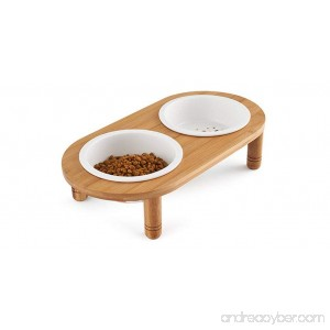 Be Good Dog Bowls Removable Ceramic/Stainless Steel Double Diners Set Elevated Bowls with Non-Skid No Spill Sturdy Wooden Stand Dog Bowls and Stand Set for Small Medium Dogs Cats Puppies - B073VPP7WK