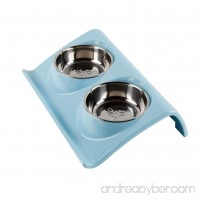 Be Good Double Dog Bowls Pet Feeding Station Stainless Steel Pet Food and Water Bowls with Sturdy Non-Skid Stand Double Diners Feeder Set for Feeding Dogs Cats Puppies Pink/Blue/Green - B073VQR4WC