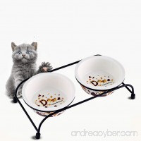 Be Good Pet Double Diner Feeder with Sturdy Non-Skid Elevated Iron Stand Wear-Resistant Dog Water Food Ceramic/Stainless Steel Double Bowls Set Perfect for Cat Dogs Puppies S/M - B073VP9FH3