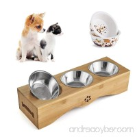 Be Good Small Dog and Cat Bowls Stainless Steel Food Water Feeder with Non-Slip Raised Stand Set of Double Bowls Perfect for Feeding Small Dogs Cats and Puppies Random Color - B073VQDGGN