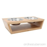 EXPAWLORER Elevated Dog Cat Bowls and Stand Set  Nature Bamboo Raised Pet Feeder Small - B072LTHH33