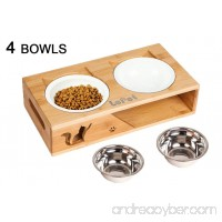 Lepet Elevated Dog Cat Bowls Raised Pet Feeder Solid Bamboo Stand Perfect for Cats and Small Dogs - B01IN99V3Q