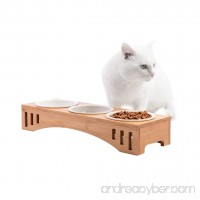 Petacc Elevated Pet Bowl Raised Dog Bowl Cat Food Feeder Combined with Bamboo Stand and 3 Ceramic Bowls - B078PJ28LQ