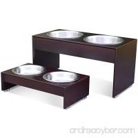 PetFusion Elevated Pet Feeder in Premium Solid Wood. FOOD GRADE Stainless steel bowls - B008LMROJ4
