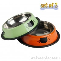 Vonsely Stainless Steel Cat Bowls with Rubber Base Durable Raised Bowls for Small Pets Cat Pattern Food and Water Dish - B06XV829BH