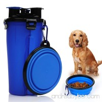 KASOS 2 in 1 Travel Outdoor Portable Pet Water and Snack Bottle Cup Dog Water Dispenser with Bowl  Dual Chambered Pet Dog Food and Water Storage Container for 350ml/12oz Water and 250g Snack - B07D29TYTC