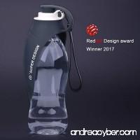 Super Design Portable Pet Travel Expandable Reversible Silicone Dog Water Bottle Dispenser - B0757K9MBC