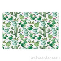 Ambesonne Green Pet Mat for Food and Water  Mexican Texas Cactus Plants Spikes Cartoon Like Artistic Print  Rectangle Non-Slip Rubber Mat for Dogs and Cats  White Light Pink and Lime Green - B0764C3JQQ