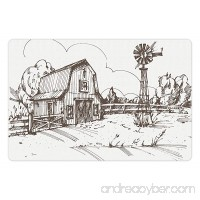 Ambesonne Windmill Pet Mat for Food and Water Rustic Barn Farmhouse Hand Drawn Illustration Countryside Rural Meadow Rectangle Non-Slip Rubber Mat for Dogs and Cats Dark Brown and White - B076D83KRC