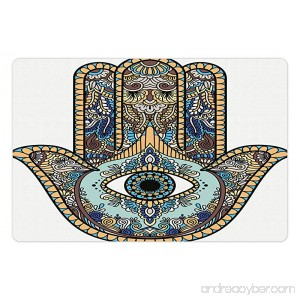 Lunarable Hamsa Pet Mat for Food and Water Hand of Fatima Religious Sign with All Seeing Eye Vintage Bohemian Zentangle Artwork Rectangle Non-Slip Rubber Mat for Dogs and Cats Multicolor - B07656494Q