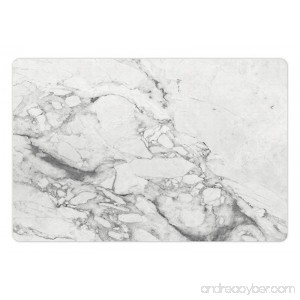 Lunarable Marble Print Mat for Food and Water Old Fashion Grungy Cultured Marbling Motif Formation Lines Retro Artsy Design Print Rectangle Non-Slip Rubber Mat for Dogs and Cats White Grey - B0764CGRW2