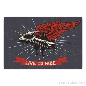 Lunarable Modern Pet Mat for Food and Water Live to Ride Quote and Helmet with Wings Motorcycle Lover Grunge Illustration Rectangle Non-Slip Rubber Mat for Dogs and Cats Charcoal Grey Red - B076566W85