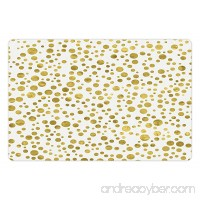 Lunarable Polka Dots Pet Mat for Food and Water  Illustration of Round Speckled Forms in Irregular Layout Artistic Vintage Style  Rectangle Non-Slip Rubber Mat for Dogs and Cats  Gold White - B0761QX4VG