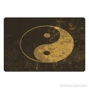 Lunarable Ying Yang Pet Mat for Food and Water Distressed Yin Yang Form Pair of the Opposites and Complementary Forces Rectangle Non-Slip Rubber Mat for Dogs and Cats Army Green Mustard - B0761MGZNJ