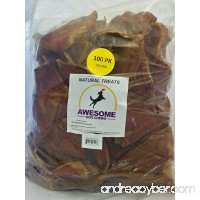 Awesome Dog Chews 100% All Natural Pig Ears 100 Count Value Bag - FDA/USDA Inspected Through a Registered FDA Plant - B01ETRRG4W